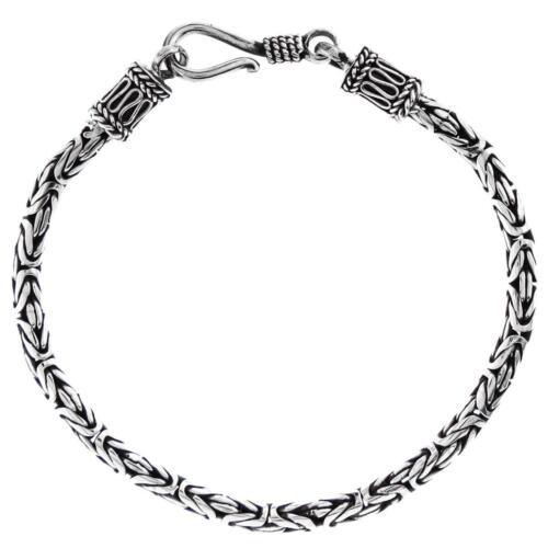 "3 mm byzantine Bali Solide Argent Sterling 925 Avec Chaîne Bracelet 6-10/"""