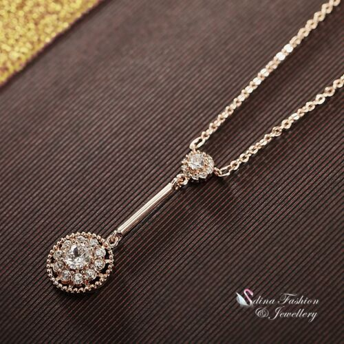 18K White /& Rose Gold Filled Simulated Diamond Stripe Flower Drop Halo Necklace
