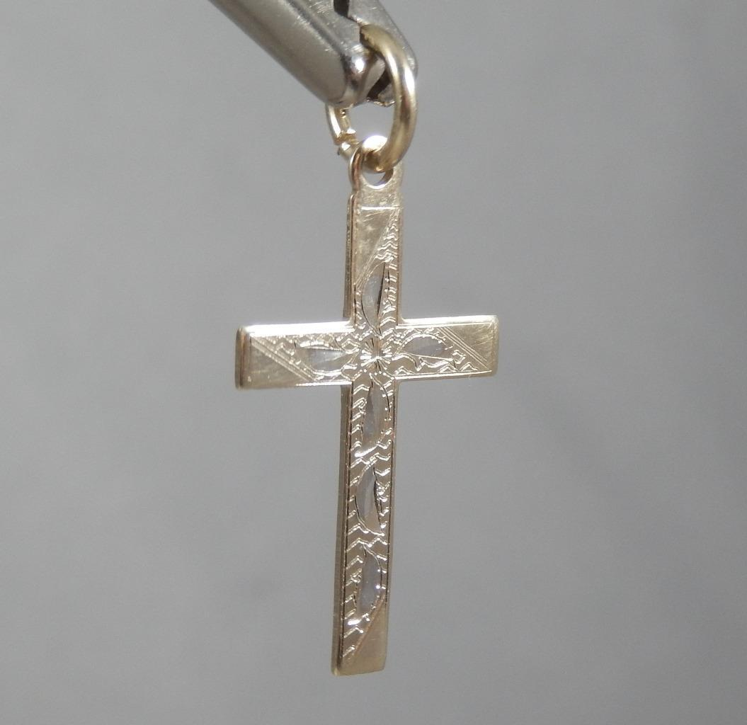 Estate Vintage 10 Karat Yellow & White gold Etched Cross Pendant 10K J0794