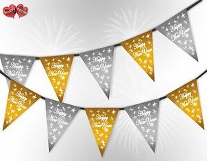 Happy-New-Year-Stars-Gold-amp-Silver-Mix-Bunting-Banner-15-flags-by-PARTY-DECOR