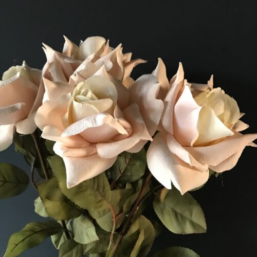 Artificial Light Pink Ivory Flowers Bunch of 5 Cream Blush Pink Faux Silk Roses