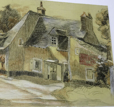 Buy Cheap Old Home In Britain Circa 1920 Pastel And Pencil 20 7/8in Art Drawings