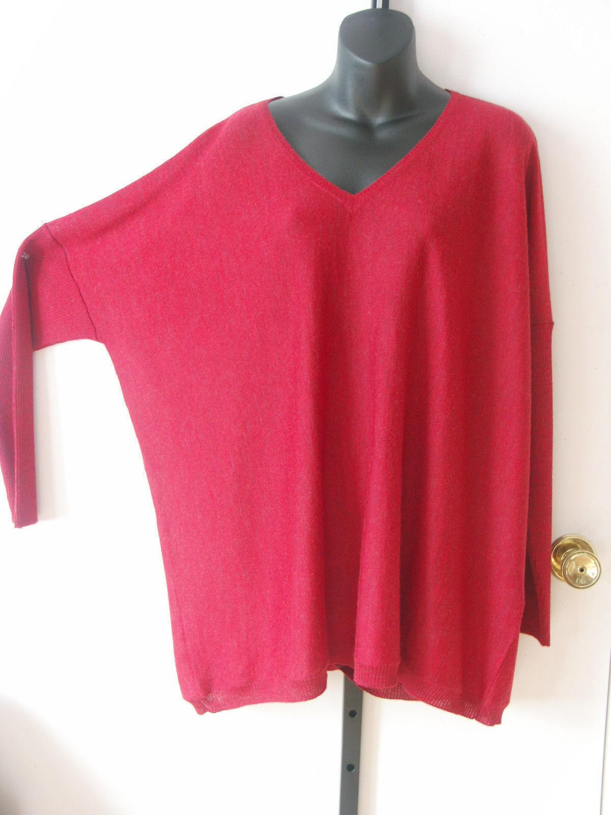 Eileen Fisher NWT  258 258 258 red 100% alpaca dolman sleeves boxy tunic size Large dd7ed6