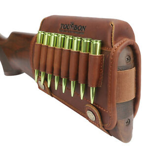 Tourbon-Left-Hand-Gun-Cheek-Rest-Riser-Pad-Rifle-Cartridges-Ammo-Holder-Leather