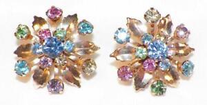 2-Rhinestone-Flower-Scatter-Pins-Multi-Color-Stones-Goldtone-Vintage-1950s-15