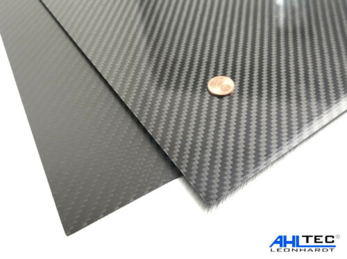 Größe wählbar Carbon Platte 0,5mm KÖPER Hochglanz CFK Kohlefaser