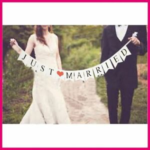 Just-Married-Mariage-Banniere-Decorations-de-Fete-Bunting-Garland-Photo-Booth-Props