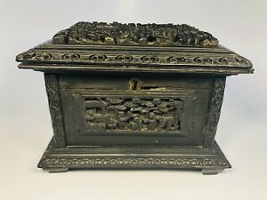 Antique-19th-Century-Chinese-Finely-Hand-Carved-Black-Wood-Jewelry-Box-6-5x5x5