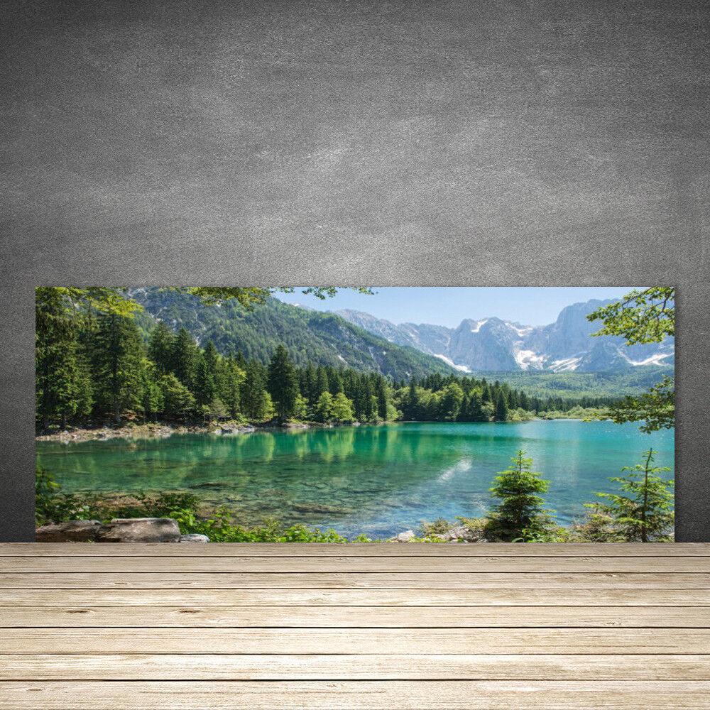 Crédence de cuisine en verre Panneau 125x50 Nature Montagnes Lac Forêt