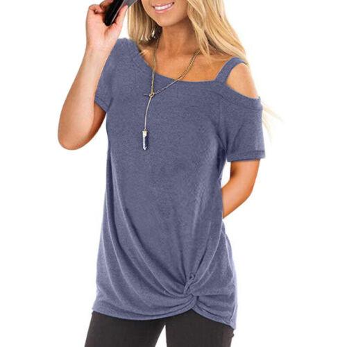 Damen Sommer Kalte Schulter Oberteil Tshirt T Shirt Kurzarm Bluse 34 36 38 40 42