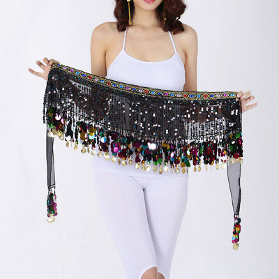 Hot Belly Dance Hip Scarf Tribal Fringe Tassel Belt Chiffon Gold Coins Black