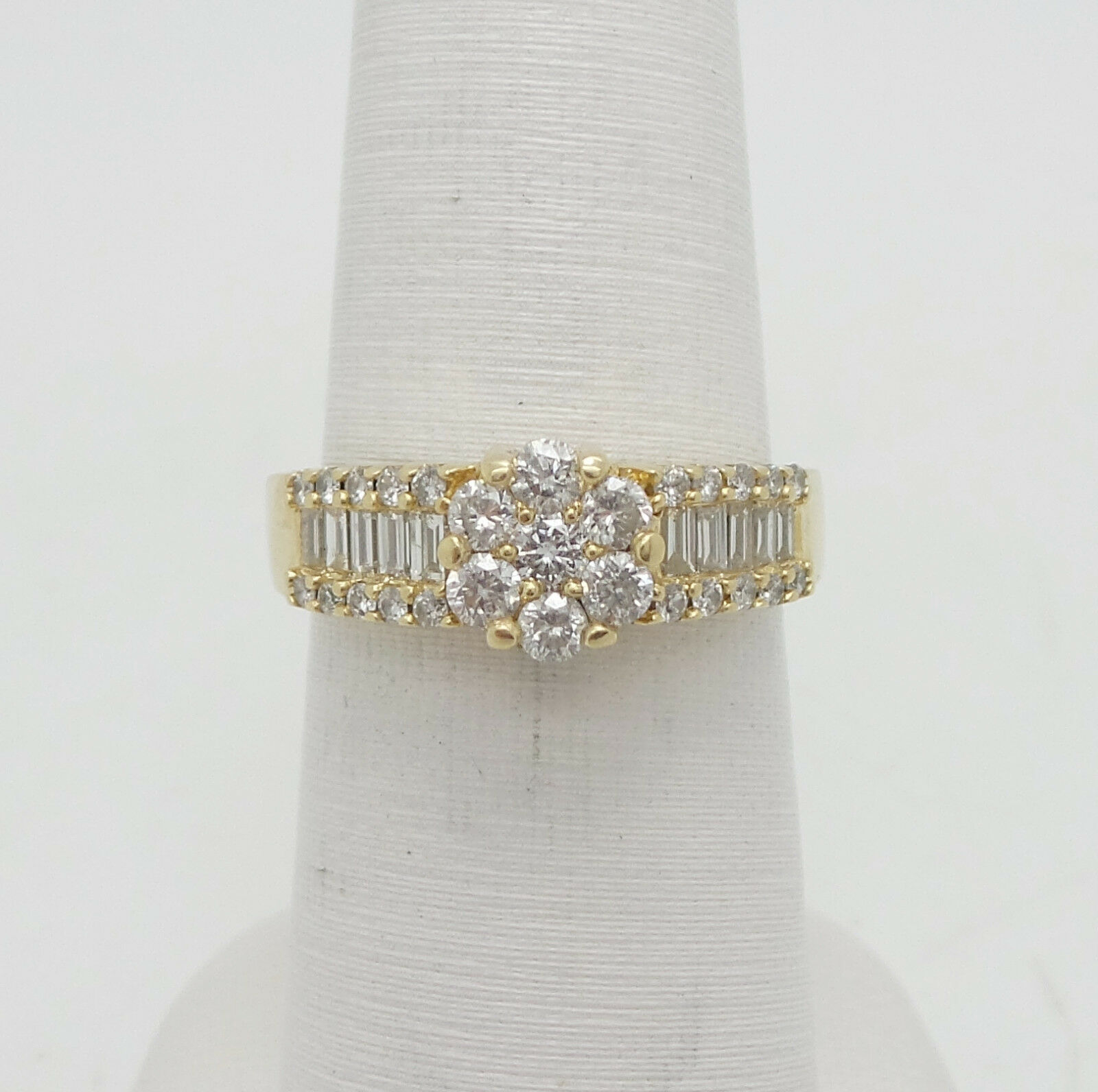 EFFY 1CT Cluster Diamond Solitaire Engagement Wedding Ring 14K Yellow gold