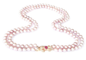RARE-14K-Yellow-Gold-Diamond-Ruby-Cultured-Pearl-Double-Strand-17-19-034-Necklace