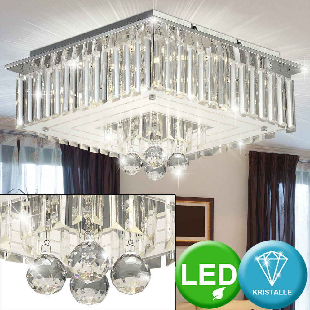 LED Kronleuchter Glas Kristalle Decken Lampe Leuchte Chrom Ess Zimmer Küche Flur
