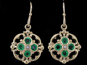 E024-Genuine-SOLID-9K-Yellow-Gold-NATURAL-Emerald-amp-Pearl-Blossom-Drop-Earrings