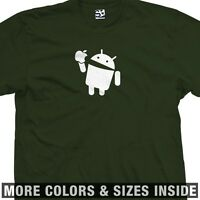 Android Eats Apple T-shirt - Droid Bite Biting Robot Bites - All Sizes & Colors