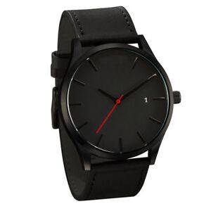 Men-039-s-Fashion-Sport-Stainless-Steel-Case-Leather-Band-Quartz-Analog-Wrist-Watch