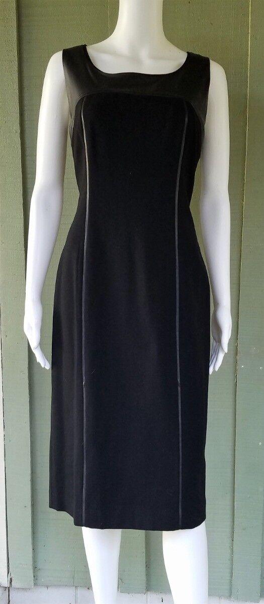 LAFAYETTE 148 schwarz Leather Trim Sheath Dress  6