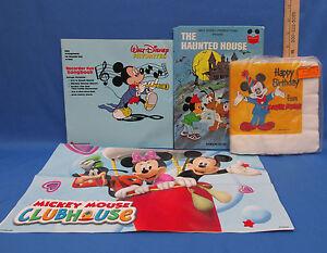 Lot 4 Mickey Mouse Walt Disney Books Napkins Poster Pluto Donald