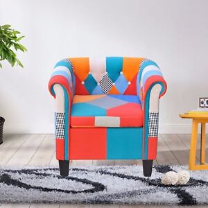 Image Is Loading Multi Color Armchair Classic Button Fabric Sofa Accent
