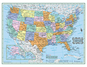"USA United States Wall Map 22""x17"" LARGE PRINT Laminated Personalized 2018"