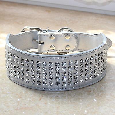 2inch Wide Bling Diamante Rhinestone Silver PU Leather Pet Big Dog Collars S M L