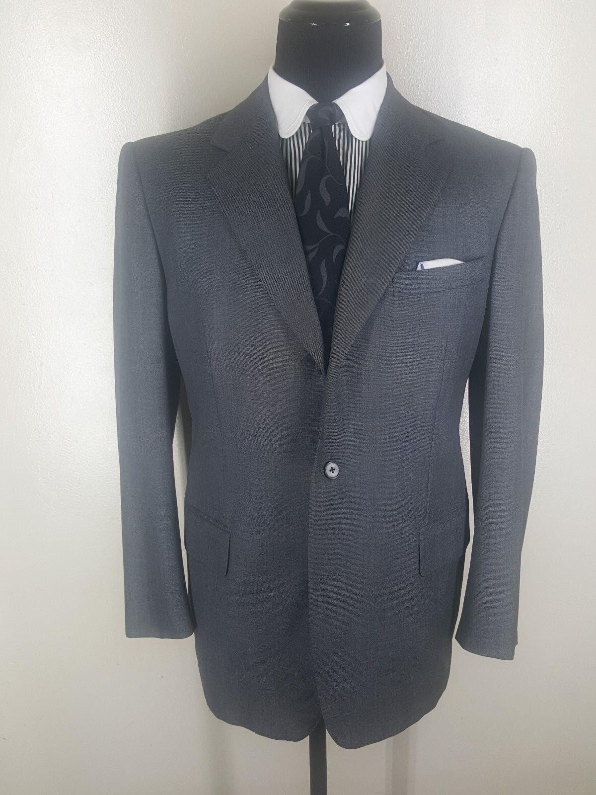 JOHN TUDOR Bespoke grau Suit 3 Btn. No Vents Made in U.S.A.  Fit  42-43 Reg