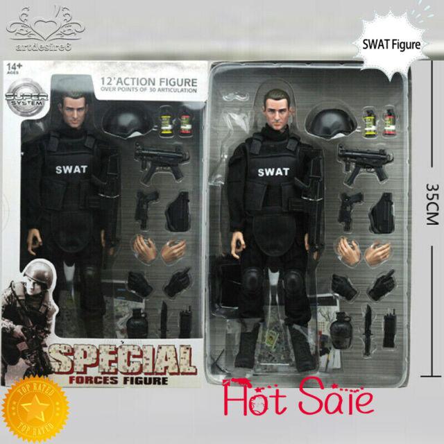 """1/6 Soldat Action Figur 12"""" SWAT schwarz Uniform Muster Militär Armee Anzug Spielzeug"""