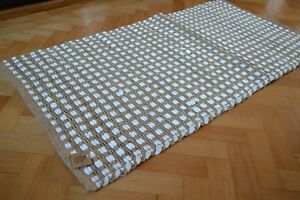 Jute-Teppich-weiss-Chindi-Baumwolle-gestreift-handmade-verknotet-Dhurrie-70x140cm
