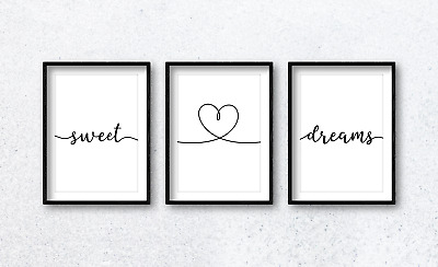 Bedroom Home Decor Sleep Sweet Dreams with Heart Quote Wall Art Print Poster x3