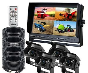 9-034-Quad-Monitor-For-Truck-Tractor-Reversing-Security-4x-CCD-Rear-View-Camera-Kit