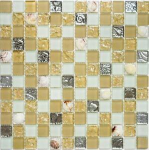Details zu Glasmosaik beige weiß Muschel mix Wand Küche Badezimmer  Art:WB82B-0112|1 Matte