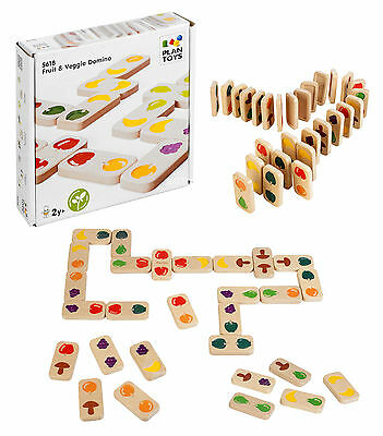 Childrens Wooden Fruit & Veg Dominoes Game Play Wood Kids Gift Toy Educational
