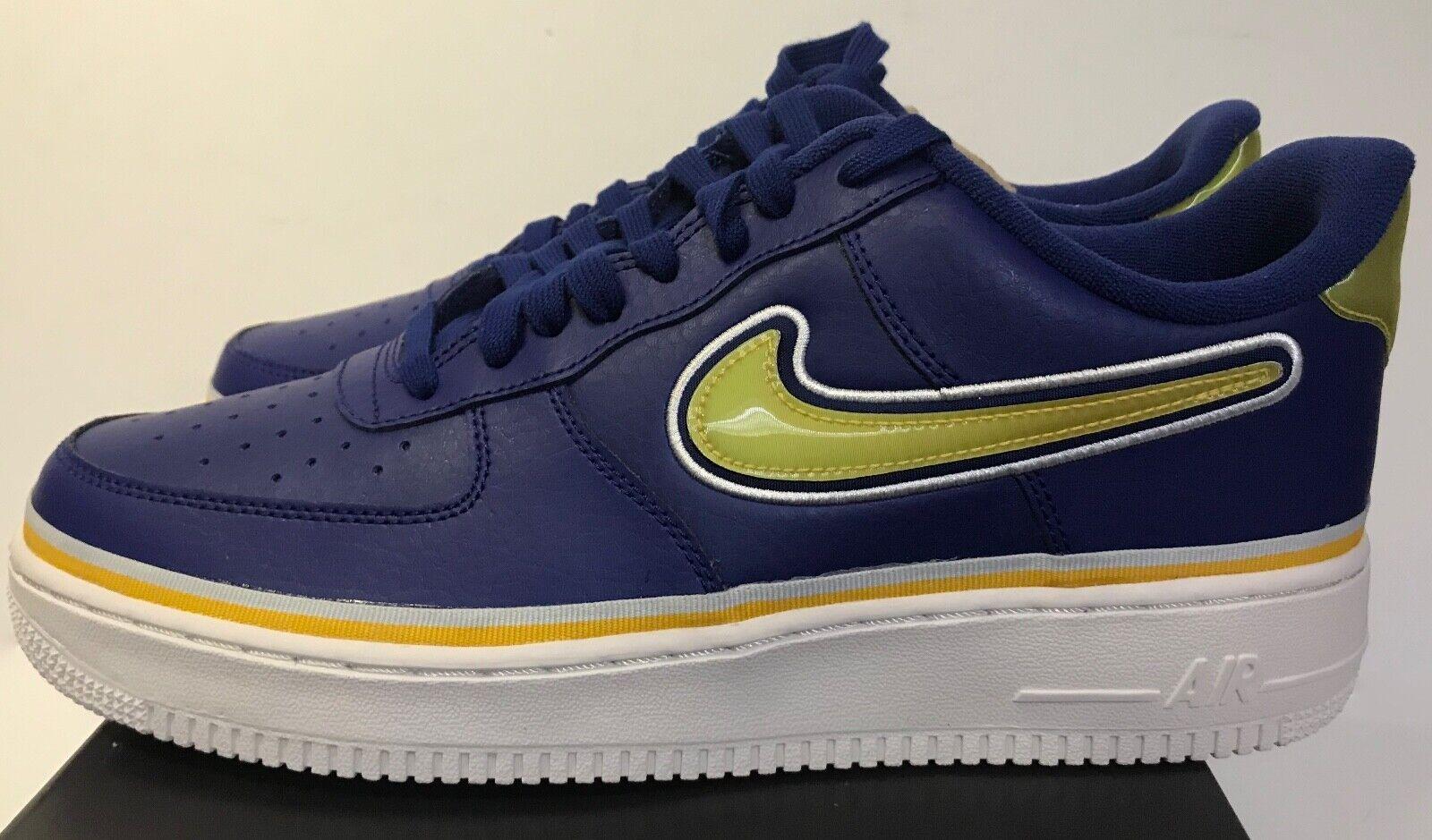 Nike Air Force 1 Low Lv8 Nba Warriors Deep Royal Blue Yellow