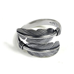 Sizable-Solid-925-Sterling-Silver-Thick-Mens-Unisex-Angel-Feather-Wing-Ring-UK