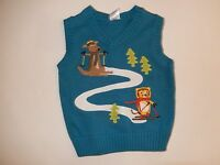 Gymboree Ski Friends Sweater Vest Top Blue Size 18-24m Ski School Boys
