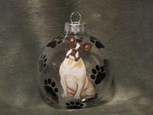 """HAND MADE FRENCH BULLDOG 3/"""" GLASS CHRISTMAS ORNAMENT BALL"""