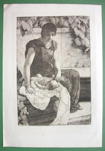 ORIGINAL ETCHING 1883 Print - ROMAN MOTHER with First Born Baby