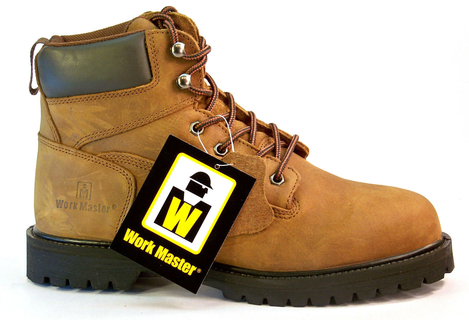 WORK MASTER G-022504-1C Work Boots, Plain Toe, 6 Inch, Brown, Size 11.5 M