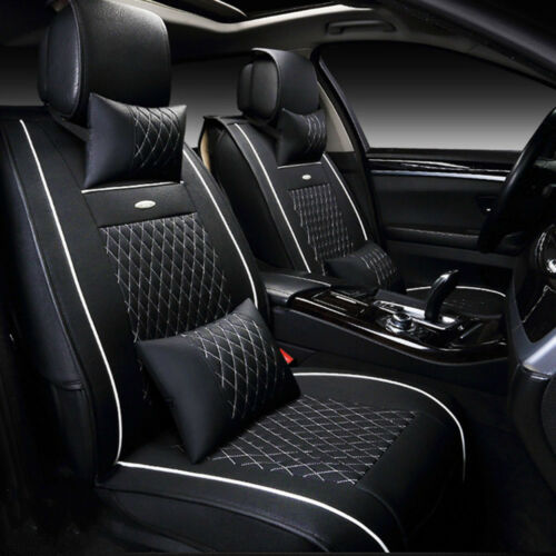 Auto Car SUV PU Leather Seat Covers Cushion Front+Rear+Free Pillows Durable Set
