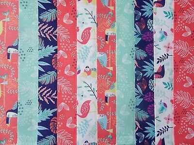 Teal blue Large Floral 2.5 inch strips 20 per pk Quilting Fabric,
