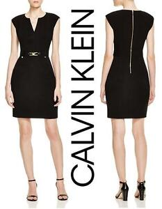 4ef563836ba Calvin Klein Gold Buckled Sheath Dress - Black - Women s Size 14 ...