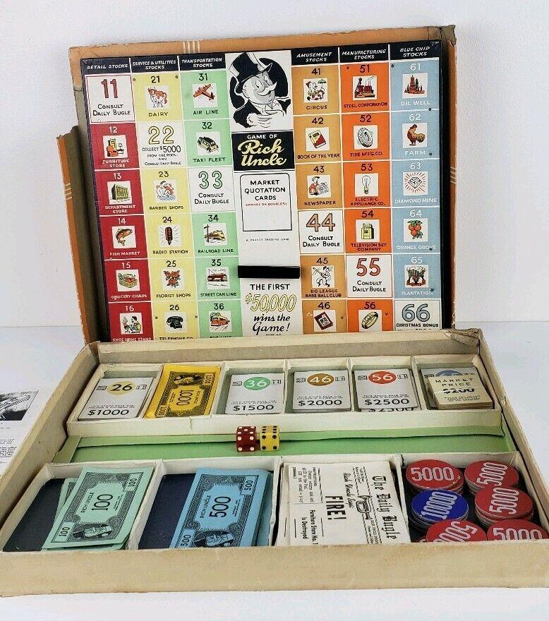 1946 Juego de Tío Rico-Vintage monopolio-Parker Brojohers Vintage Colecciones