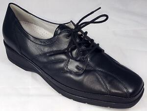 Das Bild wird geladen Waldlaeufer-Schuhe-Damen-Leder-Weite-H-schwarz -Schnuerschuhe-