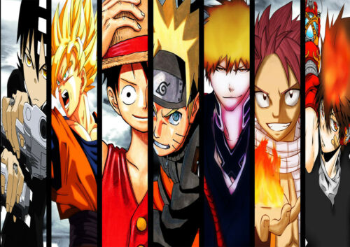 STICKER AUTOCOLLANT POSTER A4 MIX MANGA NARUTO ONE PIECE DBZ FAIRY TAIL BLEACH..