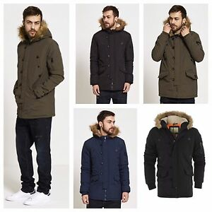a6903a59c Details about NEW MENS BRAVE SOUL PARKA PARKER PADDED LINED WINTER JACKET  FAUX FUR HOODED COAT