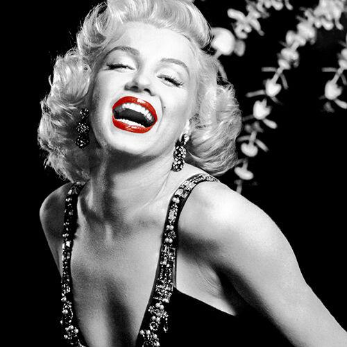 """Cubierta Cojín De Marilyn Monroe 16/""""x16/"""" 40cm Negro Y Blanco Punto Rojo Labios Color"""