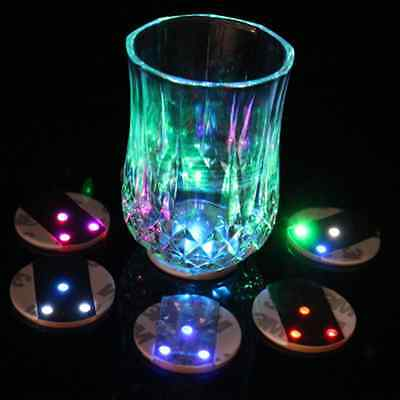 2pcs LED Flashing Lights 3M Sticker Bottle Cup Mat Coaster For Clubs, Bars Party