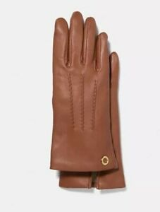 COACH-Gloves-Leather-Saddle-Camel-Brown-Merino-Wool-Lined-Womens-7-M-F32700-135