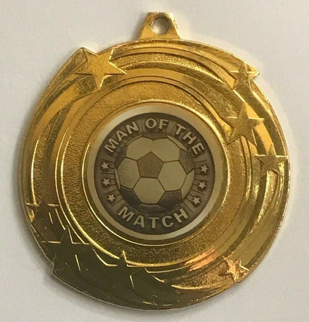 10 25 50 100 Football Man of the Match Medals with FREE RIBBONS 51 COLOURS